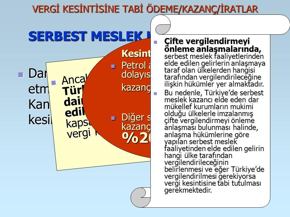 VERGİ KESİNTİSİNE TABİ ÖDEME/KAZANÇ/İRATLAR