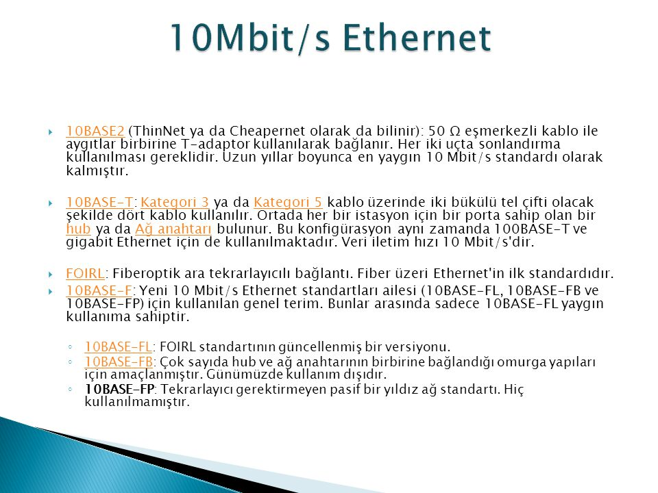 10Mbit/s Ethernet