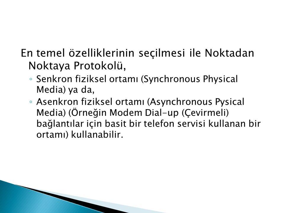 En temel özelliklerinin seçilmesi ile Noktadan Noktaya Protokolü,