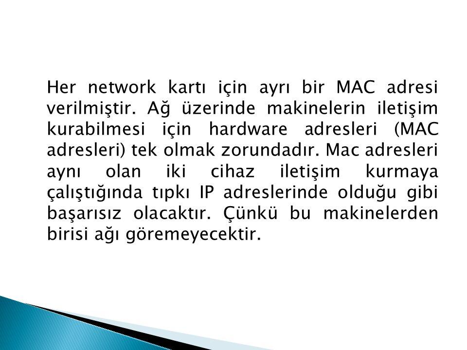 Her network kartı için ayrı bir MAC adresi verilmiştir