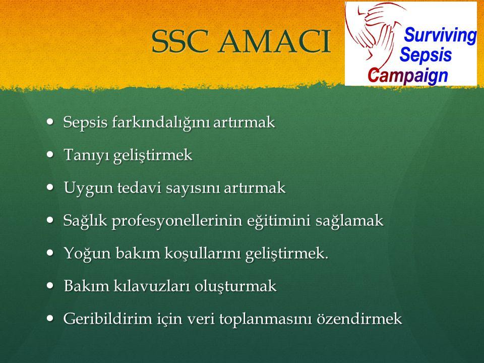 SSC AMACI Sepsis farkındalığını artırmak Tanıyı geliştirmek