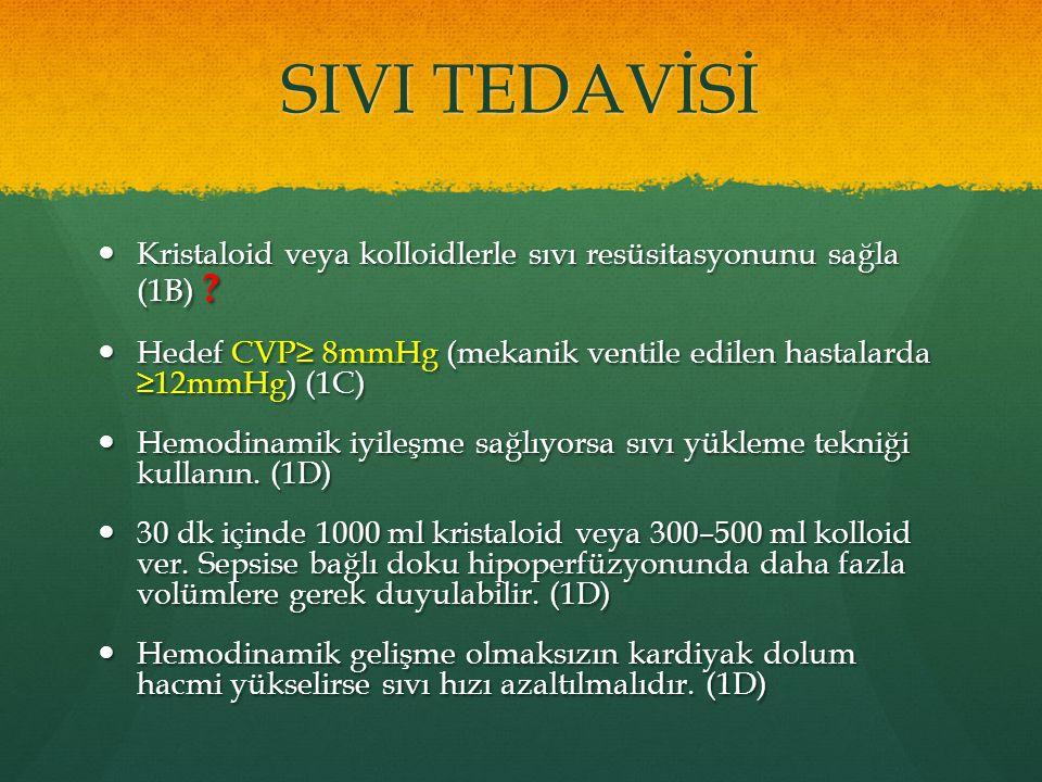 SIVI TEDAVİSİ Kristaloid veya kolloidlerle sıvı resüsitasyonunu sağla (1B) Hedef CVP≥ 8mmHg (mekanik ventile edilen hastalarda ≥12mmHg) (1C)