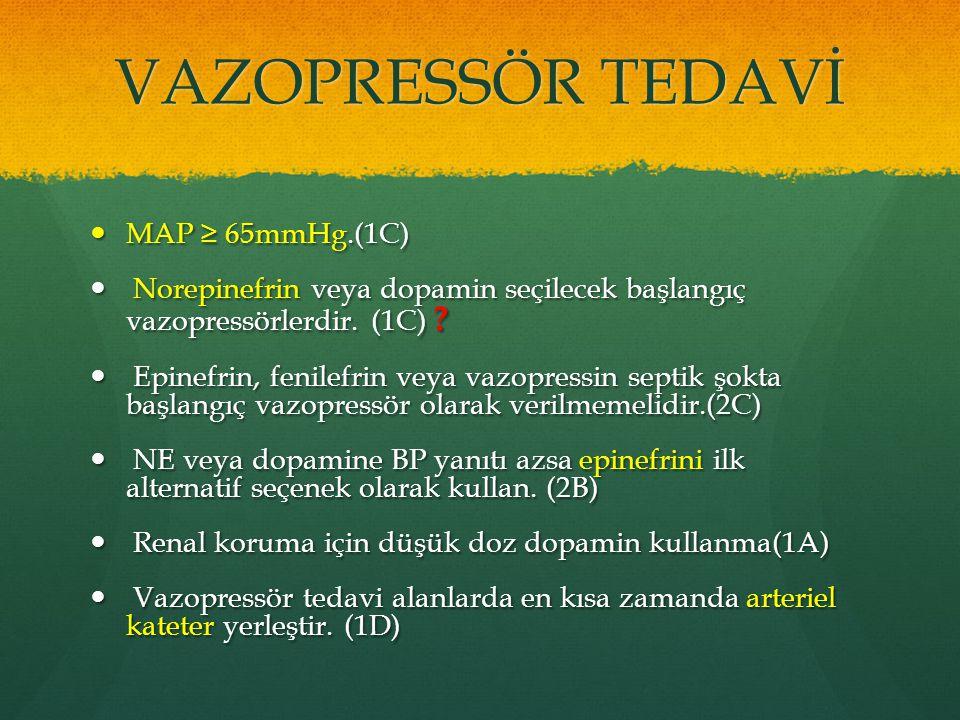 VAZOPRESSÖR TEDAVİ MAP ≥ 65mmHg.(1C)
