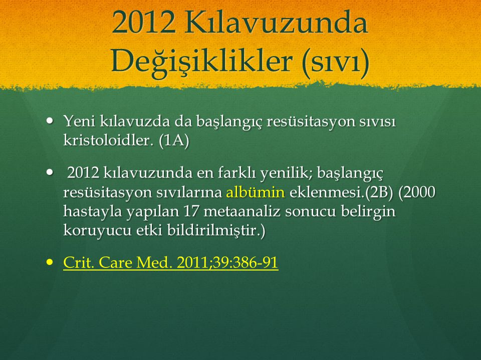 2012 Kılavuzunda Değişiklikler (sıvı)