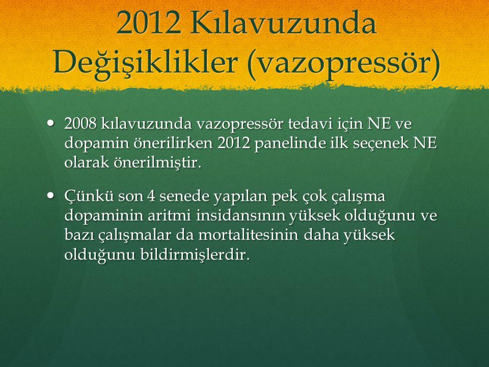 2012 Kılavuzunda Değişiklikler (vazopressör)