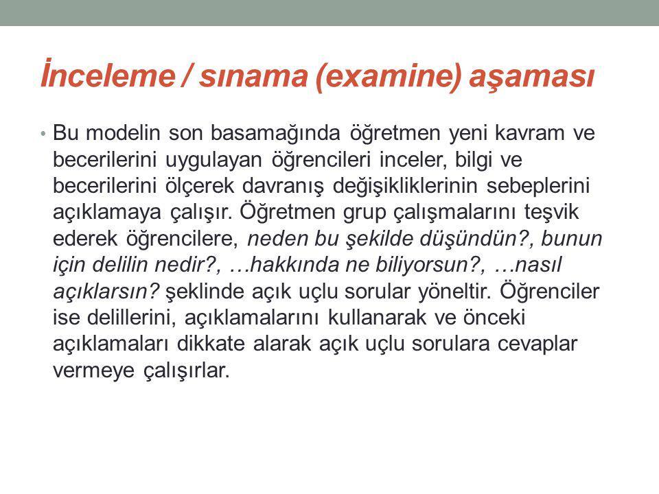 İnceleme / sınama (examine) aşaması