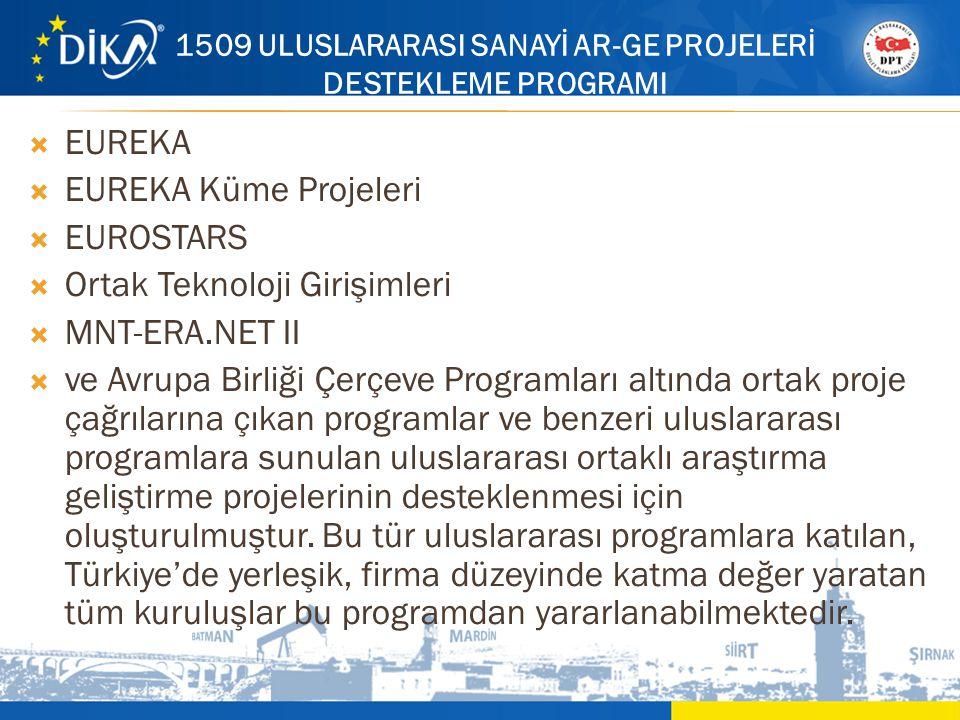 1509 ULUSLARARASI SANAYİ AR-GE PROJELERİ DESTEKLEME PROGRAMI