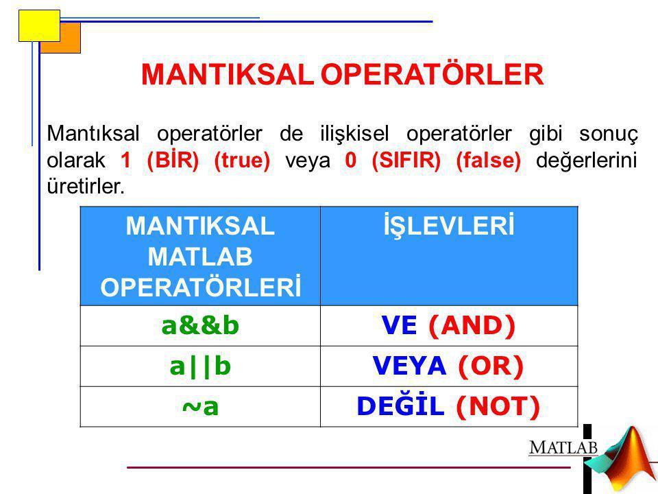 MANTIKSAL OPERATÖRLER MANTIKSAL MATLAB OPERATÖRLERİ