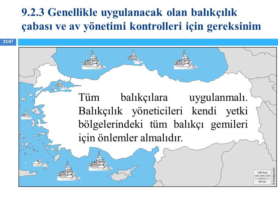 9.2.3 Genellikle uygulanacak olan balıkçılık çabası ve av yönetimi kontrolleri için gereksinim