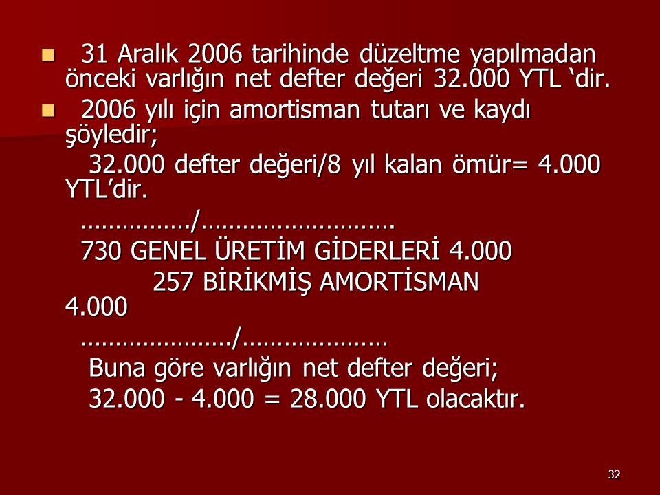 31 Aralık 2006 tarihinde düzeltme yapılmadan önceki varlığın net defter değeri 32.000 YTL 'dir.