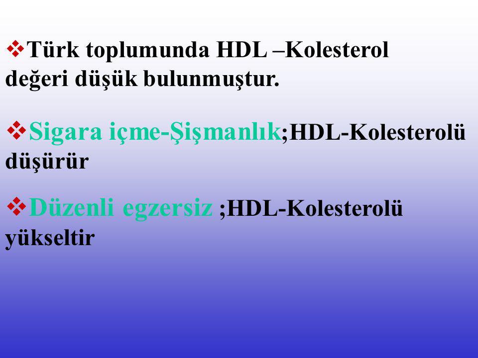 Sigara içme-Şişmanlık;HDL-Kolesterolü düşürür