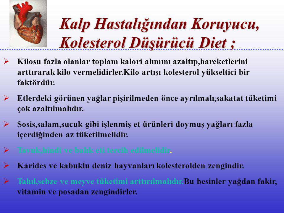 Kalp Hastalığından Koruyucu, Kolesterol Düşürücü Diet ;