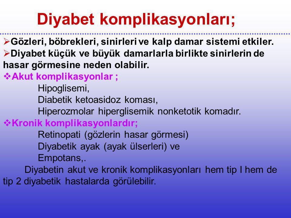 Diyabet komplikasyonları;