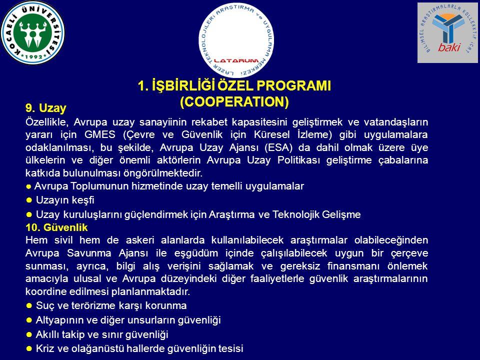 1. İŞBİRLİĞİ ÖZEL PROGRAMI (COOPERATION)