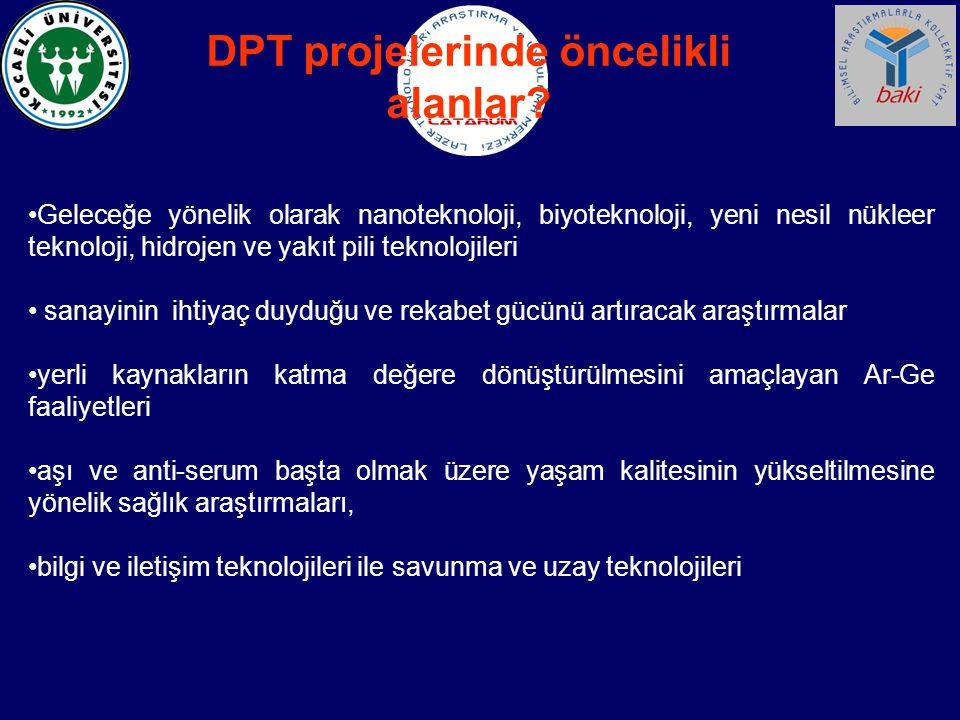 DPT projelerinde öncelikli alanlar