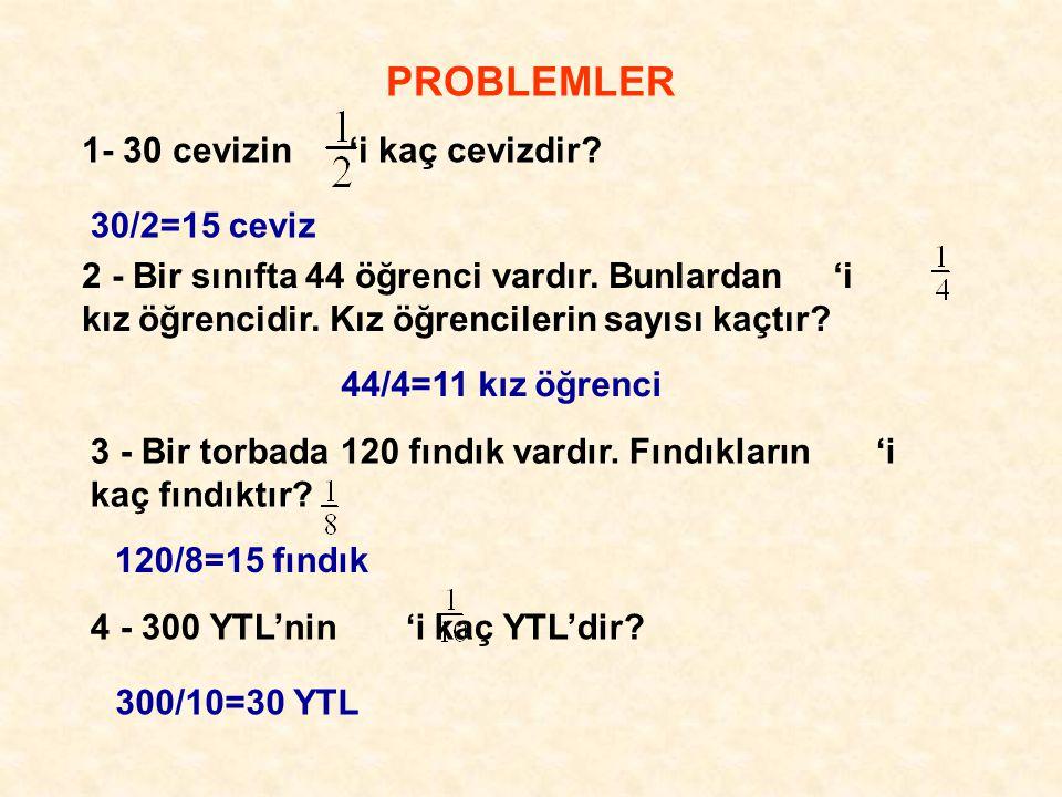 PROBLEMLER 1- 30 cevizin 'i kaç cevizdir 30/2=15 ceviz