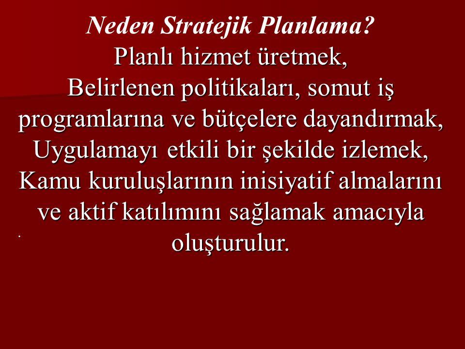 Neden Stratejik Planlama Planlı hizmet üretmek,