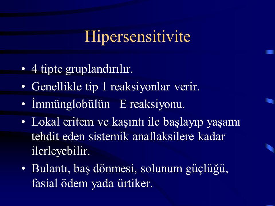 Hipersensitivite 4 tipte gruplandırılır.