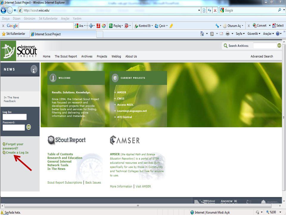 Internet Scout Project; Internet üzerinde bulunan bilgi kaynaklarını kullanıcılar için seçen, derleyen, düzenleyen ve kullanıma sunan bir çeşit veri tabanı.