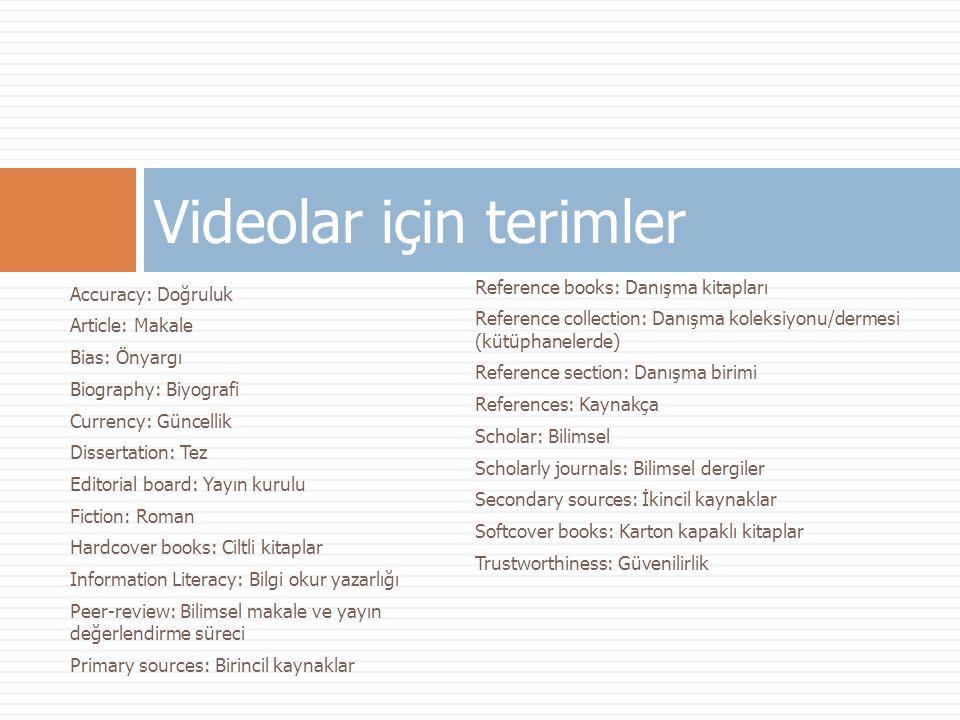 Videolar için terimler
