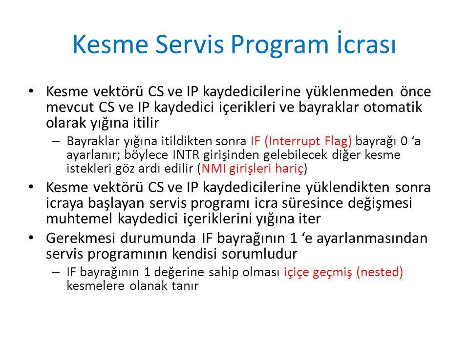 Kesme Servis Program İcrası