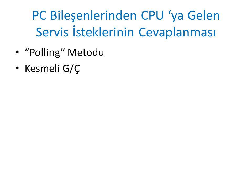 PC Bileşenlerinden CPU 'ya Gelen Servis İsteklerinin Cevaplanması