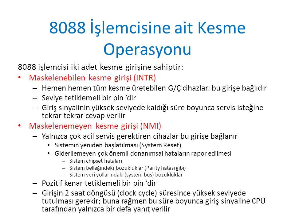 8088 İşlemcisine ait Kesme Operasyonu