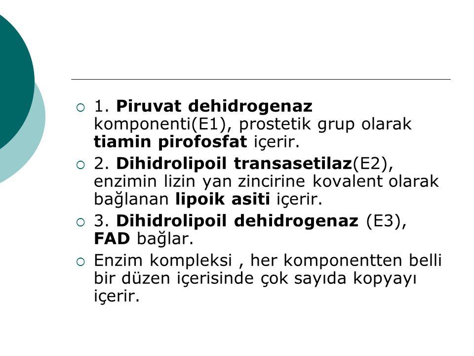 1. Piruvat dehidrogenaz komponenti(E1), prostetik grup olarak tiamin pirofosfat içerir.