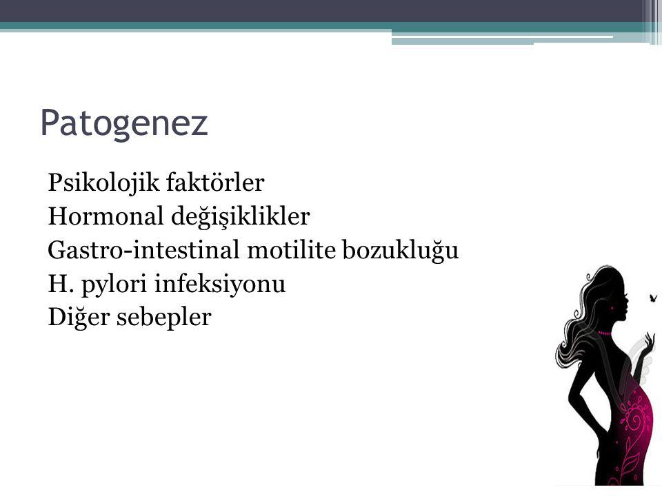 Patogenez Psikolojik faktörler Hormonal değişiklikler Gastro-intestinal motilite bozukluğu H.