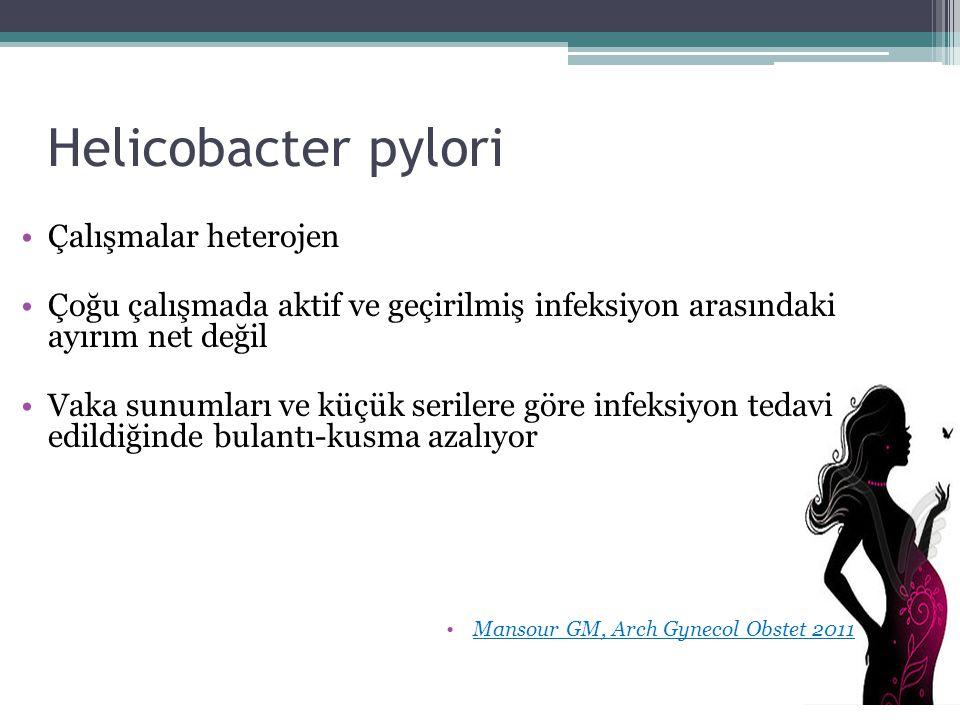 Helicobacter pylori Çalışmalar heterojen