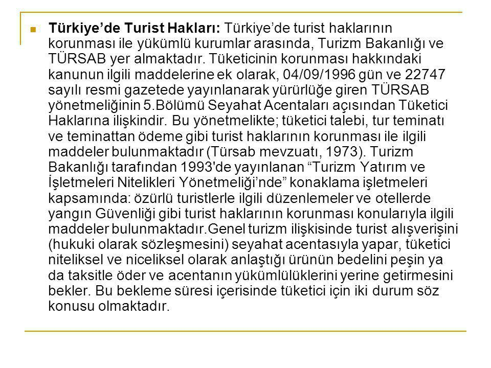 Türkiye'de Turist Hakları: Türkiye'de turist haklarının korunması ile yükümlü kurumlar arasında, Turizm Bakanlığı ve TÜRSAB yer almaktadır.