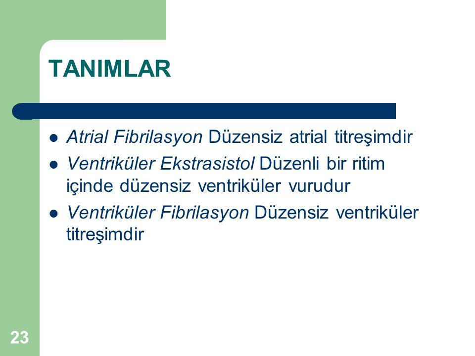 TANIMLAR Atrial Fibrilasyon Düzensiz atrial titreşimdir