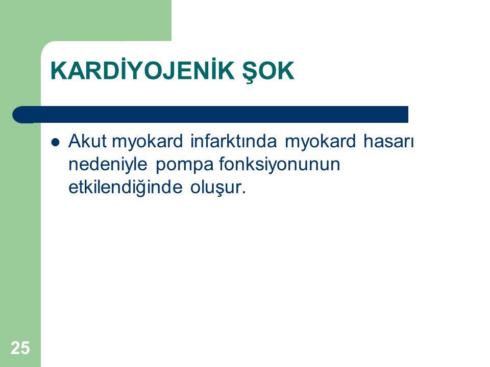 KARDİYOJENİK ŞOK Akut myokard infarktında myokard hasarı nedeniyle pompa fonksiyonunun etkilendiğinde oluşur.