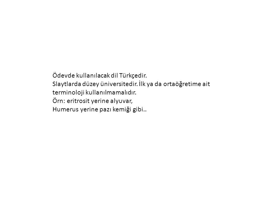 Ödevde kullanılacak dil Türkçedir.
