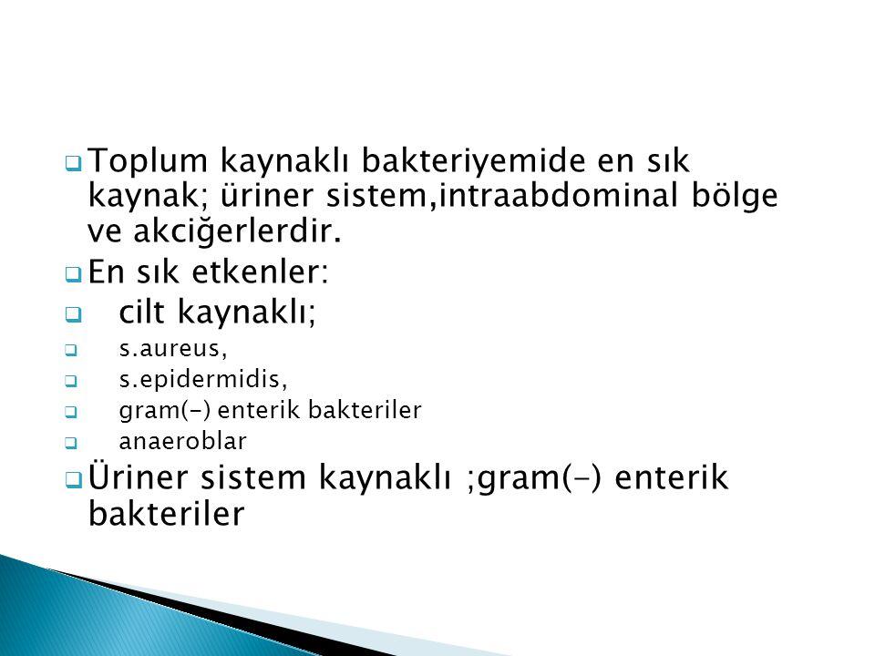 Üriner sistem kaynaklı ;gram(-) enterik bakteriler