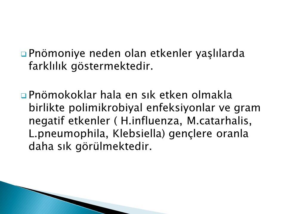 Pnömoniye neden olan etkenler yaşlılarda farklılık göstermektedir.