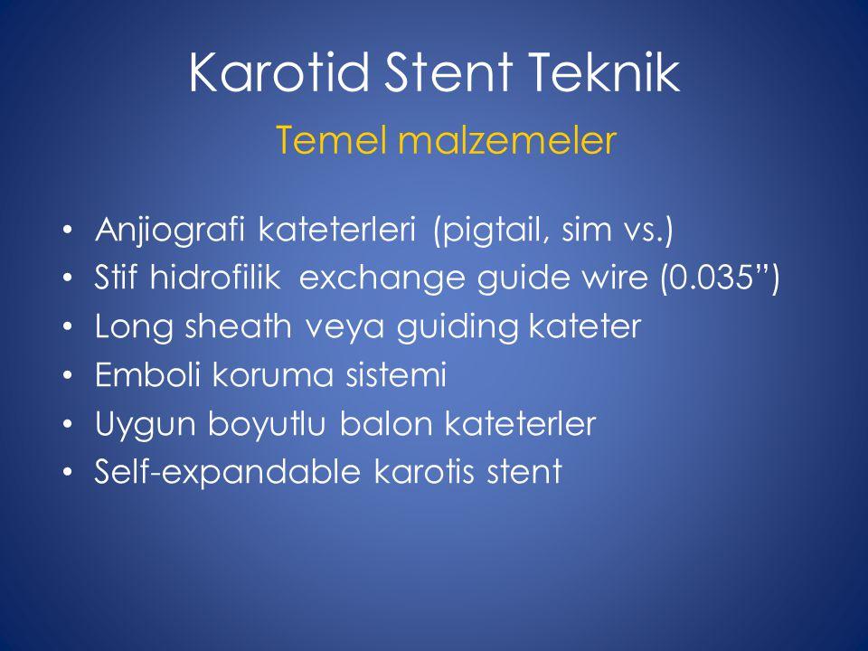 Karotid Stent Teknik Temel malzemeler