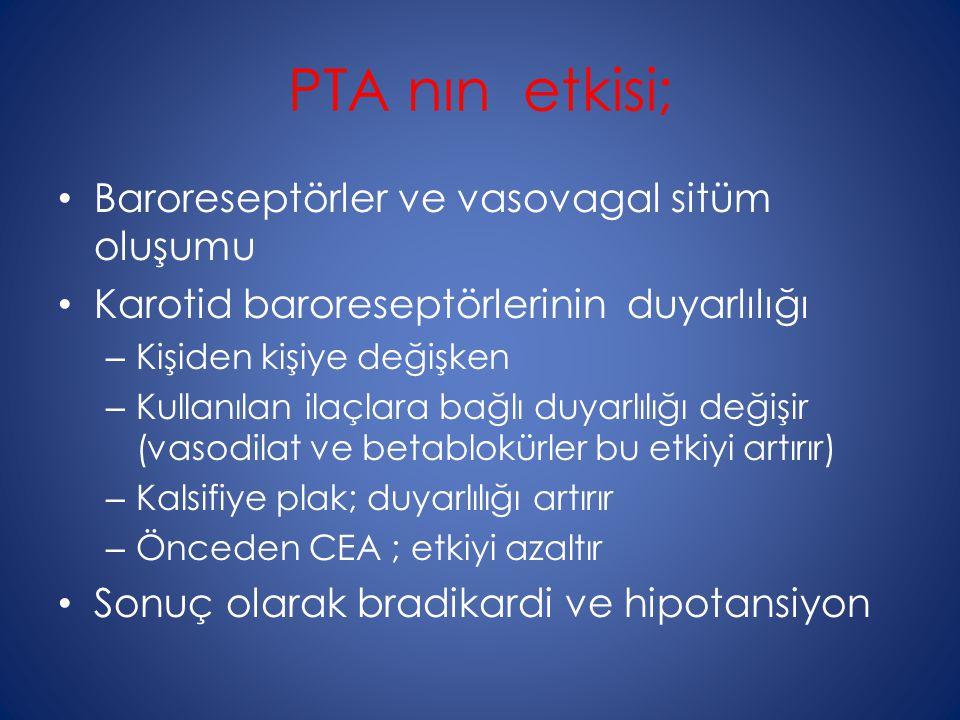PTA nın etkisi; Baroreseptörler ve vasovagal sitüm oluşumu