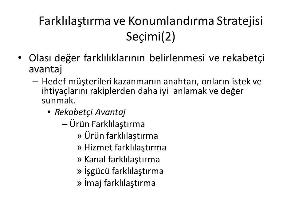 Farklılaştırma ve Konumlandırma Stratejisi Seçimi(2)