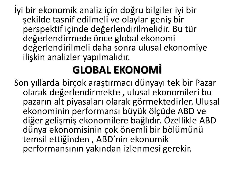 İyi bir ekonomik analiz için doğru bilgiler iyi bir şekilde tasnif edilmeli ve olaylar geniş bir perspektif içinde değerlendirilmelidir. Bu tür değerlendirmede önce global ekonomi değerlendirilmeli daha sonra ulusal ekonomiye ilişkin analizler yapılmalıdır.