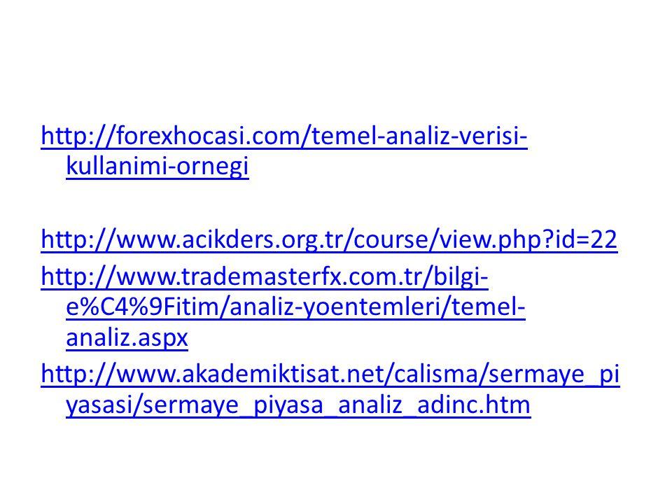 http://forexhocasi.com/temel-analiz-verisi-kullanimi-ornegi http://www.acikders.org.tr/course/view.php id=22 http://www.trademasterfx.com.tr/bilgi-e%C4%9Fitim/analiz-yoentemleri/temel-analiz.aspx http://www.akademiktisat.net/calisma/sermaye_piyasasi/sermaye_piyasa_analiz_adinc.htm