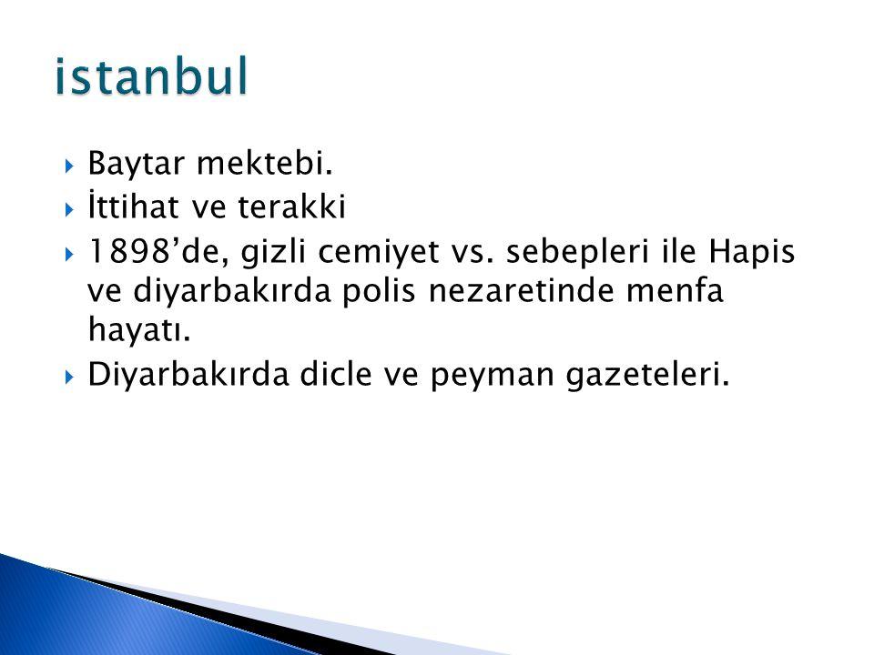 istanbul Baytar mektebi. İttihat ve terakki
