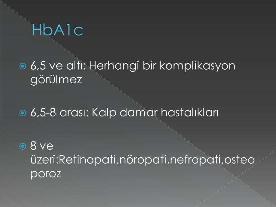 HbA1c 6,5 ve altı: Herhangi bir komplikasyon görülmez