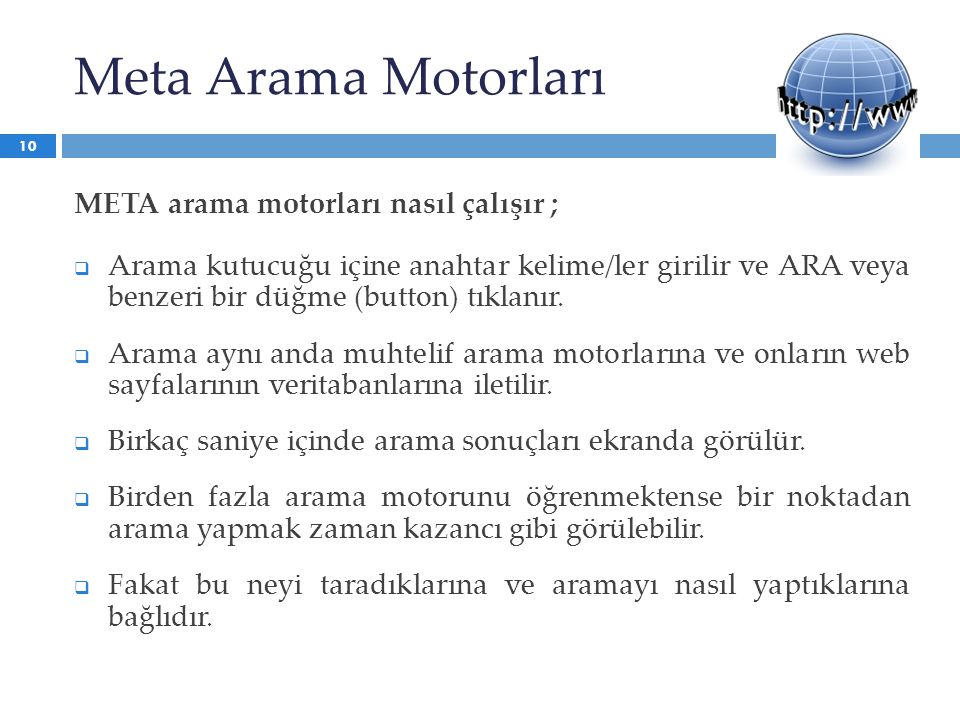 Meta Arama Motorları META arama motorları nasıl çalışır ;