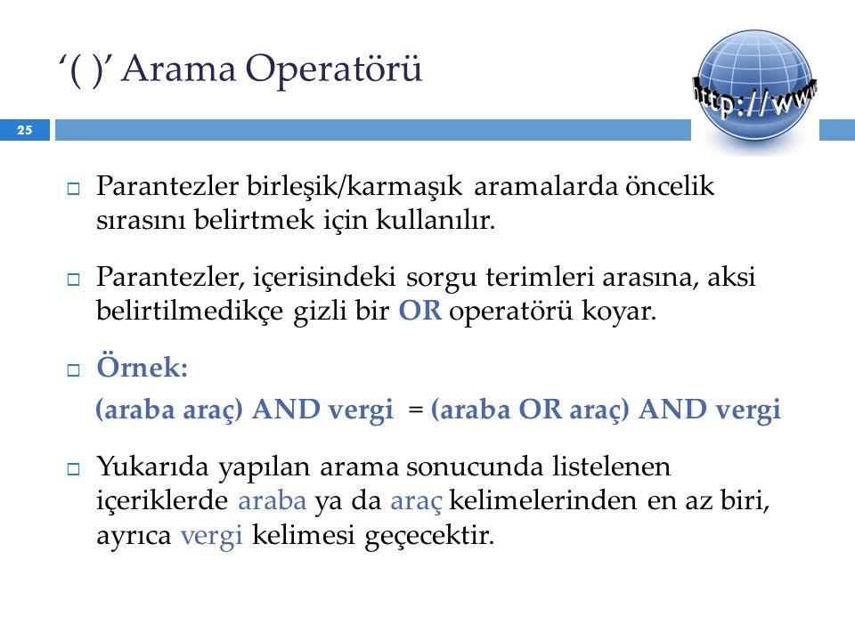 '( )' Arama Operatörü Parantezler birleşik/karmaşık aramalarda öncelik sırasını belirtmek için kullanılır.