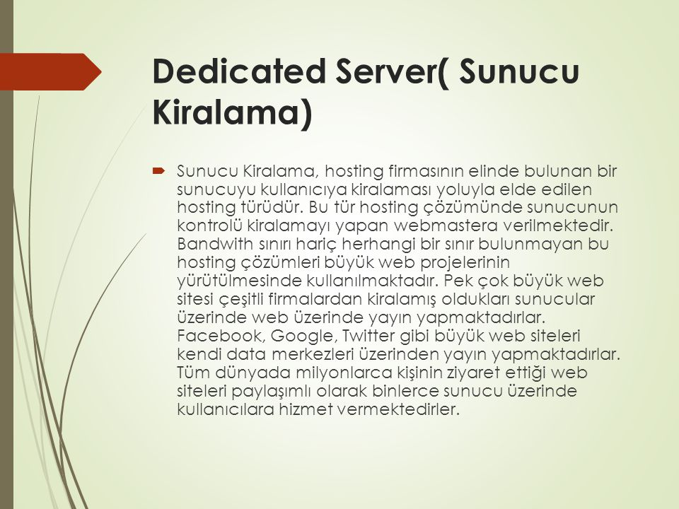 Dedicated Server( Sunucu Kiralama)