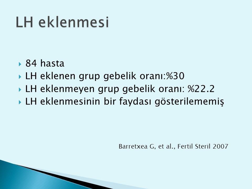 LH eklenmesi 84 hasta LH eklenen grup gebelik oranı: %30