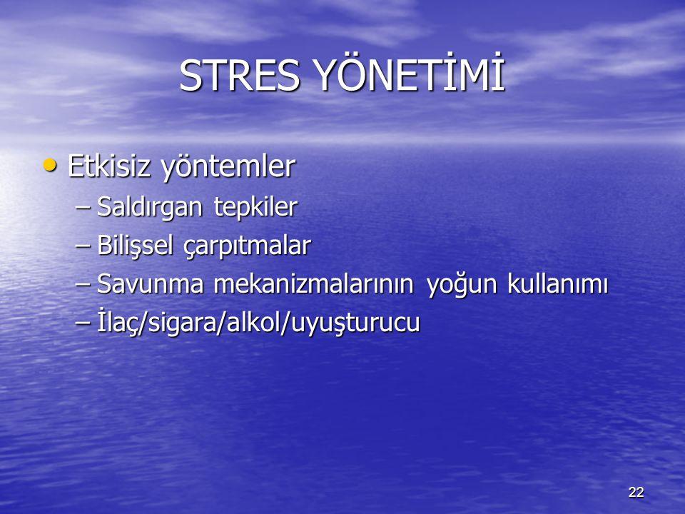 STRES YÖNETİMİ Etkisiz yöntemler Saldırgan tepkiler