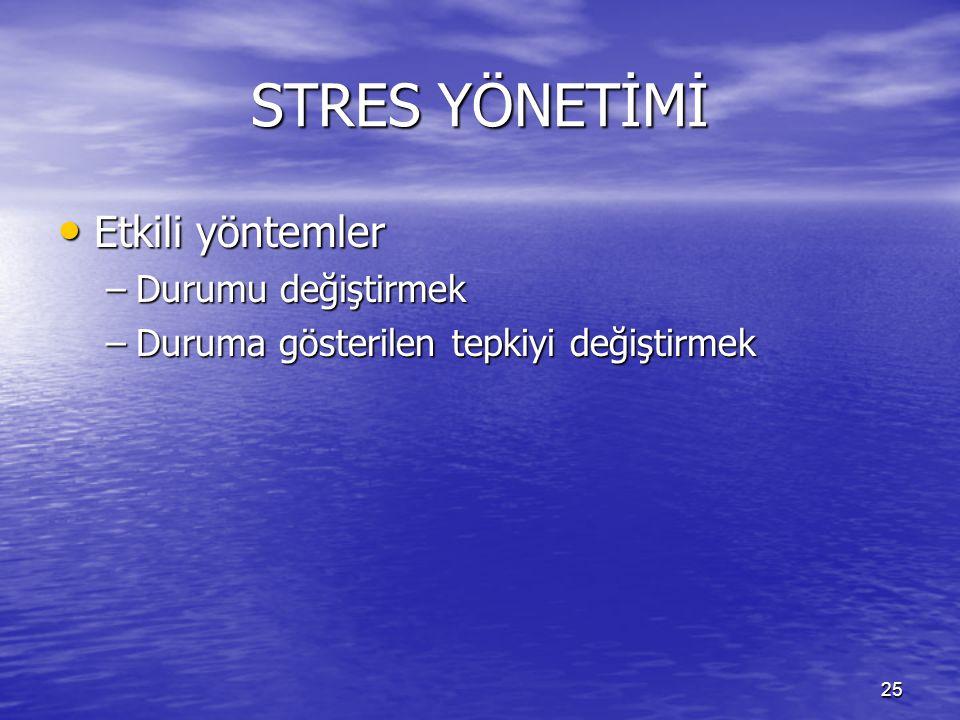 STRES YÖNETİMİ Etkili yöntemler Durumu değiştirmek