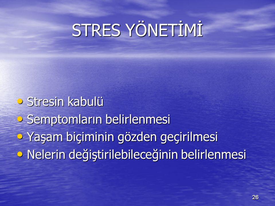 STRES YÖNETİMİ Stresin kabulü Semptomların belirlenmesi